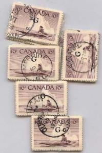 Canada - 10c Inuk & Kayak Ovpt Flying G X 100 Used #O39a
