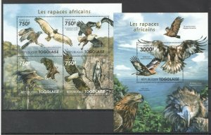 TG1019 2011 TOGO FAUNA AFRICAN BIRDS OF PREY EAGLES RAPTORS BL+KB MNH