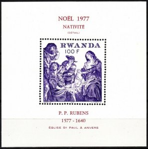 RWANDA 1977 Christmas Religion. Painting by Rubens. Souvenir Sheet, MNH