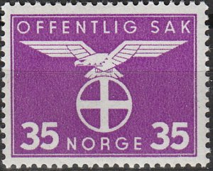 Stamp Norway Official Sc O051 1942 WW2 3rd Reich Germany Occupation MNH