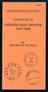 US La Posta Checklist of OREGON Post Offices by Richard Helbock