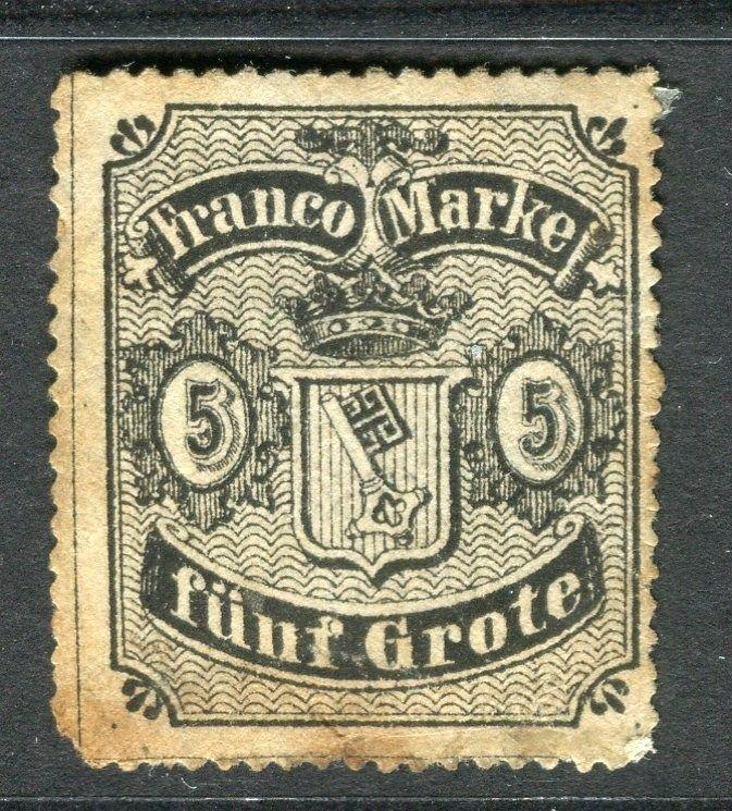 GERMANY  BREMEN 1862 classic issue Unused 5gr. value ( toned on reverse )