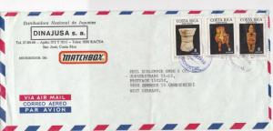Costa Rica 1990 Airmail to W.Germany Matchbox Toys Artefacts Stamps Cover  23450
