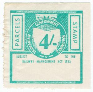 (I.B) Australia - Tasmania Railways : Parcels Stamp 4/-