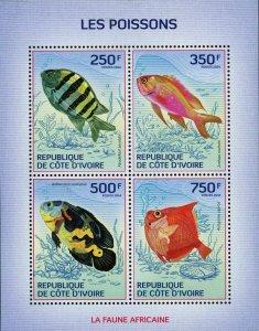 Fish Stamp Astronotus Ocellatus Anthias Nicholsi Marine Fauna S/S MNH #1509-1512