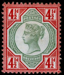 SG206a, 4½d green & deep bright carmine, M MINT. Cat £750.
