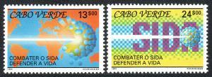 Cape Verde 592-593, MNH. Fight Against AIDS, 1991