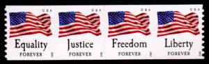 2012 45c Forever Four Flags, Strip of 4 Scott 4629-4632 Mint F/VF NH
