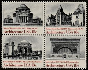 USA stamp, Scott#1928-1931, MNH, block of four, Architecture, buildings,
