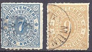 Wuerttemberg  #50, 51 Used VF  cat $140  Lakeshore Philat...