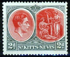 ST.KITTS-NEVIS KG VI 1938 2d. Scarlet & Grey Perf. 13x12 SG 71 MINT