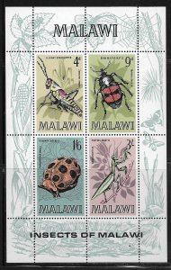 MALAWI, 130A, MNH, SS OF 4, INSECTS