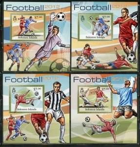 SOLOMON ISLANDS NEVER OFFERED 2012 FOOTBALL (SOCEER)SET OF 4  DELUXE S/S MINT NH