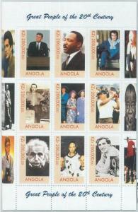 2321 - ANGOLA, MINIATURE SHEET: Elisabeth II, Einstein, Kennedy, Elvis, Madonna