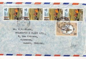 FALKLAND ISLANDS Commercial QUINTUPLE RATE Air Mail Cover Surrey 1981 SS243
