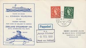GB NETHERLANDS 1960 MV Koningin Wilhelmina ship maiden voyage cover.........1081