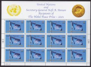 UN, MNH. 2001 Nobel Peace Prize, 3 Full Panes for NY, Geneva & Vienna Offices