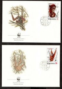 1989  INDONESIA  -  SG: 1920/23  -  ORANGUTANGS -  WWF - FIRST DAY COVERS x 4