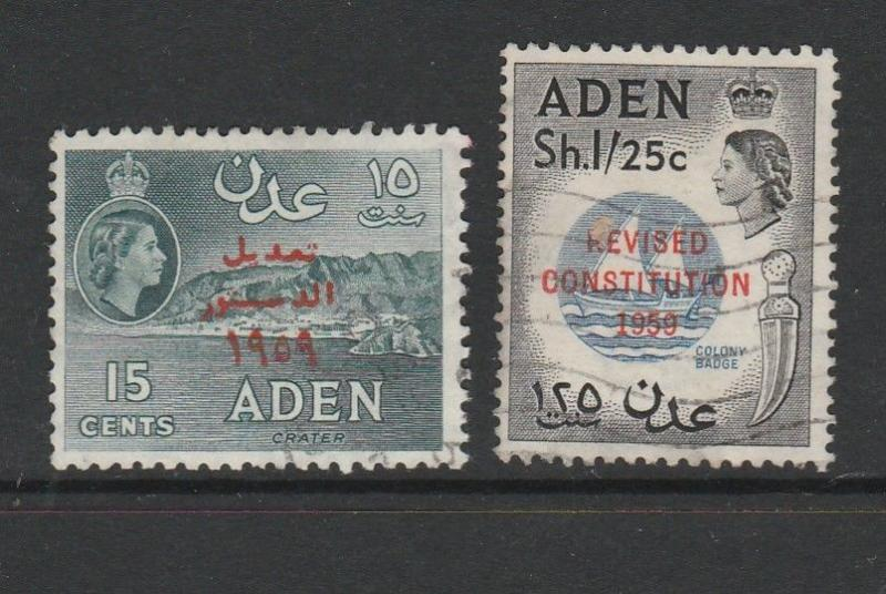 Aden 1959 New Constitution Used SG 74/5