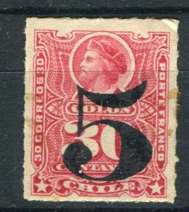 CHILE; 1900 early Columbus surcharged issue Mint hinged Shade of 5/30p. value