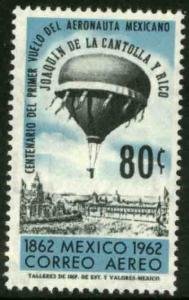 MEXICO C264, Cent of 1st baloon ascension in Mexico City. MINT, NH. F-VF.