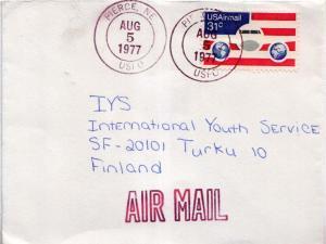 Airmail Issues 31c Plane and Globes 1977 Pierce, NE USPO Airmail to Turku, F...