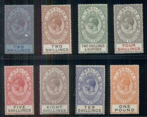 GIBRALTAR #85a-92, 2sh - £1 Geo. V, all og, LH, VF, Scott $676.75