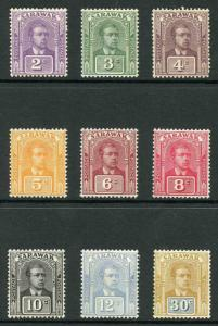 Sarawak SG63/71 1922 New Colours set (no wmk) M/Mint