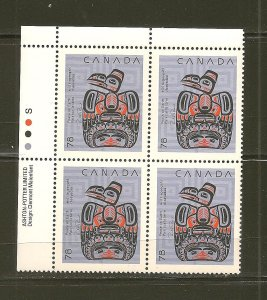 Canada 1296 Native Nativity Art Children With Raven Block of 4 MNH