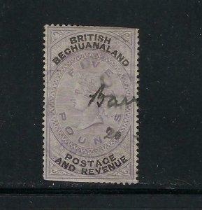 BECHUANALAND PROTECTORATE SCOTT #22 1887 WMK 29 5 POUND- PEN CANCEL-SPACE FILLER