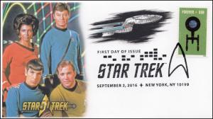 2016, Star Trek, 50 years, Pictorial, Postmark, FDC, 16-261