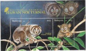 Malaysia Scott 1192 MNH** Nocturnal Wildlife Souvenir Sheet