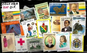 COLOMBIA 500 DIFFERENT STAMPS COLLECTION MNH/USED LOT SELECTED PACKET