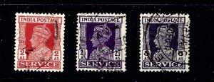 India O108/O110/O112 Used 1939-43 issues