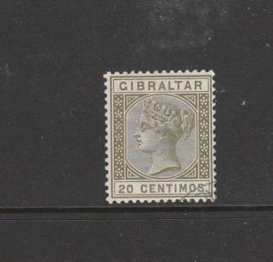 Gibraltar 1889 20c Olive Green VFU SG 25
