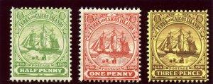 Turks & Caicos 1905 Badge of the Islands set superb MNH. SG 110-112. Sc 10-12.