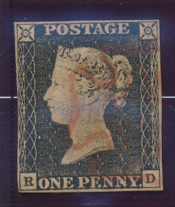 Great Britain Stamp Scott #1, Penny Black, Used, R/D, Light Red Maltese Cross...