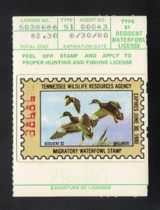 TN1 1979 TENNESSEE 1st State Duck Stamp (ELLIOTT) OGNH-EBAY LOW=$84-OFFER?