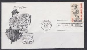 1238 City Mail Delivery Unaddressed Artmaster FDC