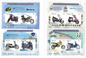 Malaysia 2003 Motorcycles and Scooters S/S Sc 941-944 MNH Bo22