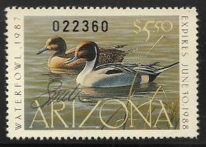 AZ1  1987 Arizona 1st State Duck Stamp-Artist Signed-Smith- OGNH EBAY LO -OFFER?