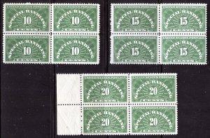 QE1-QE2-QE3  BLOCKS OF FOUR MINT OGNH
