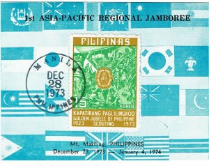 Philippines 1973 Manila cancel on card for Asia-Pacific Boy Scout Jamboree