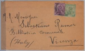 British INDIA -  POSTAL HISTORY : Cover  to Vicenza  ITALY 1921