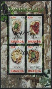 RWANDA, UNLISTED, SOUVENIR SHEET OF 4, 2010, USED, MINERALS