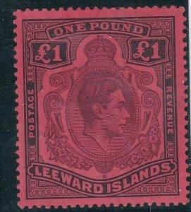 1938 LEEWARD ISLANDS - S.G:114 - KGVI - £1 BROWN PURPLE & BLACK RED -  UMM