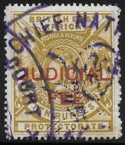 British East Africa | BEA | KUT 1897 QV Judicial Fee Revenue 10R Bistre VF Used