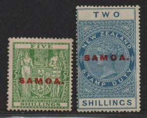 $Samoa Sc#120+123 M/LH/VF, part set, Cv. $29.50