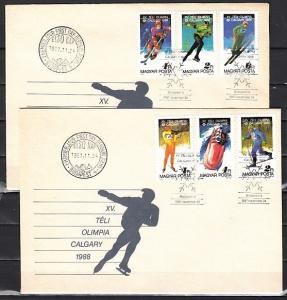 Hungary, Scott cat. 3094-3099. Calgary Olympics issue. 2 First day covers.