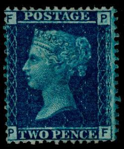 SG45, 2d blue PLATE 12, M MINT. Cat £3000. PF